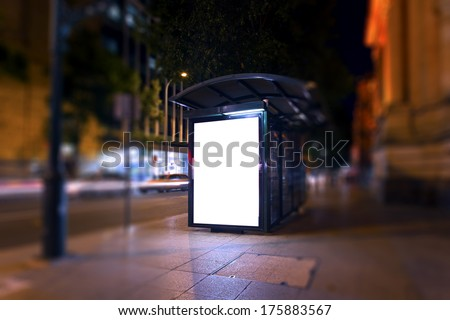 Advertising light boxes in the city at night  - stock photo