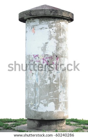 Advertising pillar, weathered aged grunge light grey concrete ad pole on grass, isolated empty blank copyspace, rustic background - stock photo