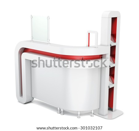 Advertising stand isolated on white background for your design. 3d illustration. - stock photo