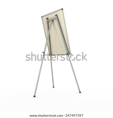 advertising stand or easel back view isolated on white background. 3d render image. - stock photo