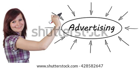 Advertising - young businesswoman drawing information concept on whiteboard.  - stock photo