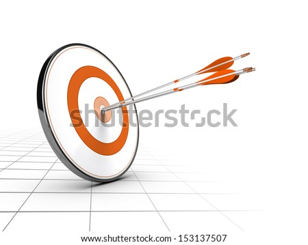 Advice or business competition concept. One target and three arrows achieving their objectives. Perspective background and orange color  - stock photo