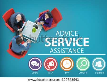 Advice Service Assistance Customer Care Support Concept - stock photo