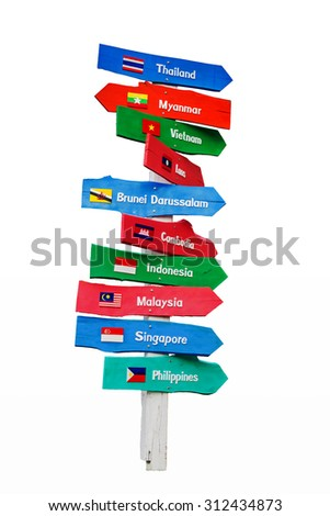 AEC country name on multicolor wood signboard isolate on white background - stock photo