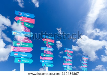 AEC country name on multicolor wood signboard over blue sky - stock photo