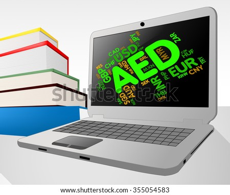 Aed Currency Representing United Arab Emirates And Emirati Dirhams - stock photo