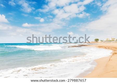 Aegan sea and Malia beach, Crete, Greece - stock photo