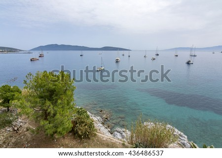 Aegean sea view from Bodrum Castle, Turkey - stock photo
