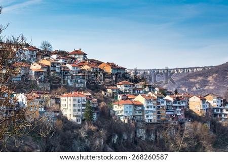 Aeral View of Veliko Tarnovo, medieval town in Bulgaria - stock photo