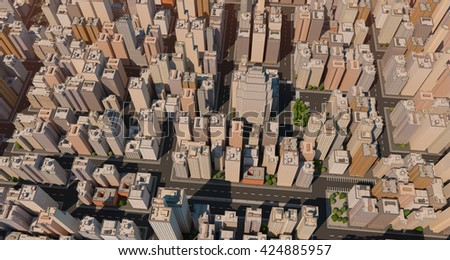 Aerial angle view of huge city. Big buildings with streets. 3D render image. High quality detail. - stock photo