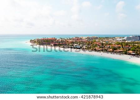 Aerial at Manchebo beach on Aruba island in the Caribbean - stock photo