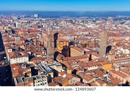 aerial bird eye view of bologna towers from Asinelli Tower, Bologna, Italy - stock photo