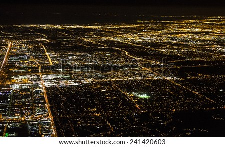 Aerial City View at Night - stock photo