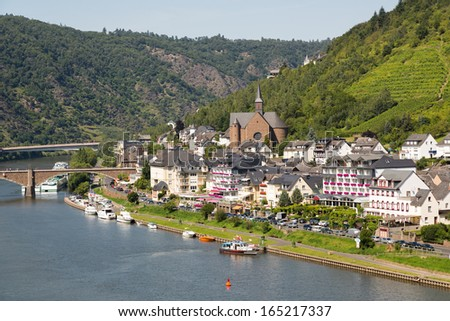 Aerial city view of Cochem along river Moselle in Germany - stock photo