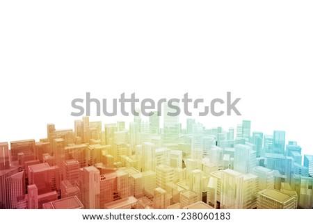 Aerial cityscape of futuristic city - stock photo