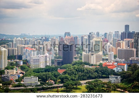 Aerial cityscape of Singapore - stock photo