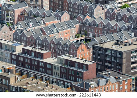 Aerial cityscape of The Hague, governmental city of the Netherlands - stock photo