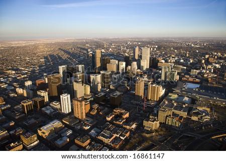 Aerial cityscape of urban Denver, Colorado, United States. - stock photo
