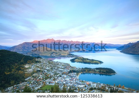 Aerial Cityscape View of Queenstown New Zealand Sunset - stock photo