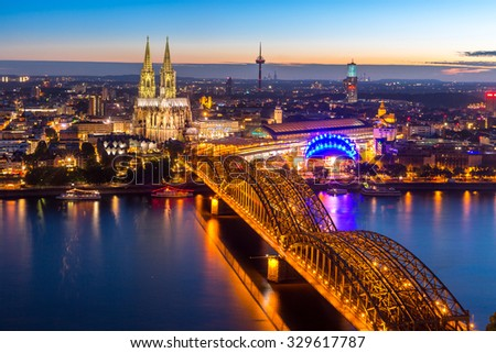 Aerial Cologne Cathedral and Hohenzollern Bridge, Cologne, Germany - stock photo