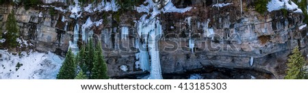 Aerial/Drone Panorama of the Vail Amphitheater.  This location is world famous for it's world-class ice climbing and scenic frozen waterfalls.  Vail, Colorado Rocky Mountains - stock photo