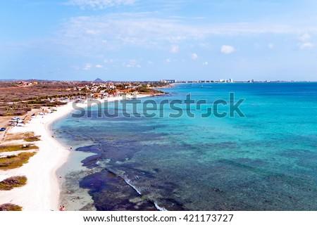 Aerial from Boca Catalina on Aruba island in the Caribbean Sea - stock photo