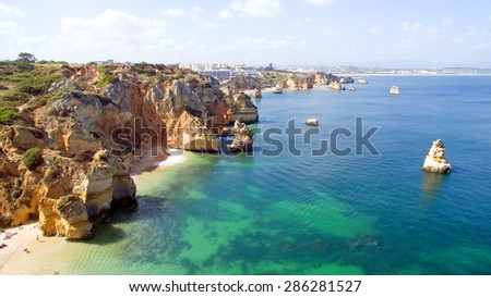 Aerial from natural rocks near Lagos in Portugal - stock photo