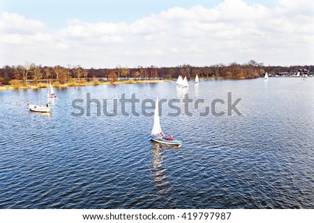 Aerial from sailing at Loosdrechtse plassen in the Netherlands - stock photo