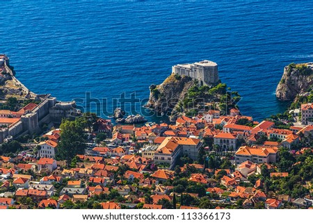 Aerial helicopter shoot of Dubrovnik old town. St. Lawrence Fortress or Lovrijenac - stock photo