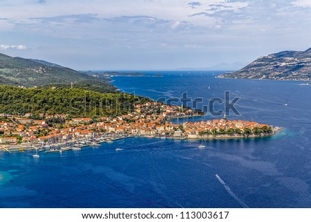 Aerial helicopter shoot of Korcula old town. Dubrovnik archipelago - stock photo