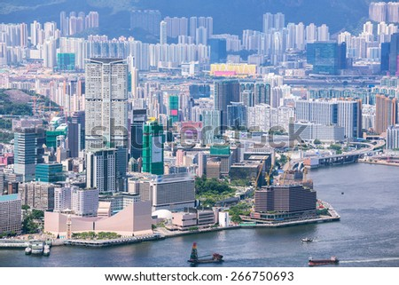 Aerial Hong Kong Kowloon from Victorial Peak - stock photo