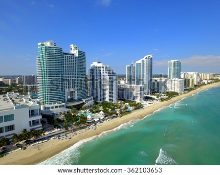 Aerial image Hollywood Beach and architecture - stock photo