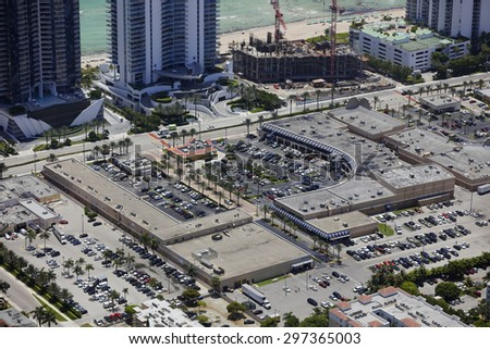 Aerial image of a shopping center  - stock photo