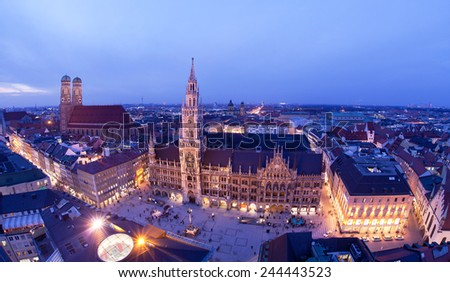 Aerial image of Marienplatz square in Munich, Germany. - stock photo
