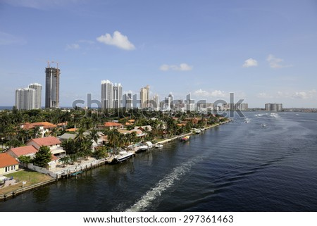 Aerial image of Sunny Isles Beach FL and the Intracoastal waterway - stock photo