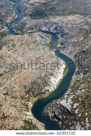 AERIAL LANDCAPE WITH RIVER - stock photo