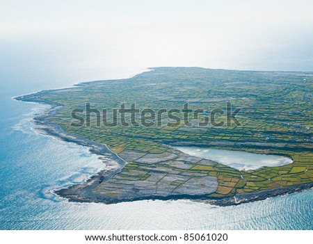 Aerial landscape of Inisheer Island and the lake, part of Aran Islands, Ireland. - stock photo