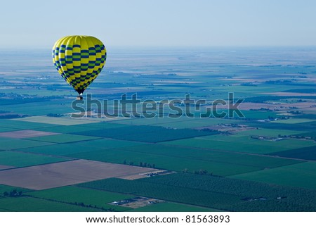 Aerial landscape of Sacramento Valley: view from hot air balloon above the valley, California, USA. - stock photo