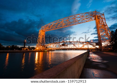 Aerial Lift Bridge at Sunset in Duluth Minnesota, Canal Park - stock photo