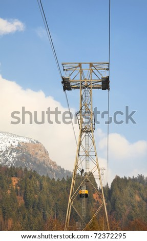 Aerial lift in Alps - stock photo