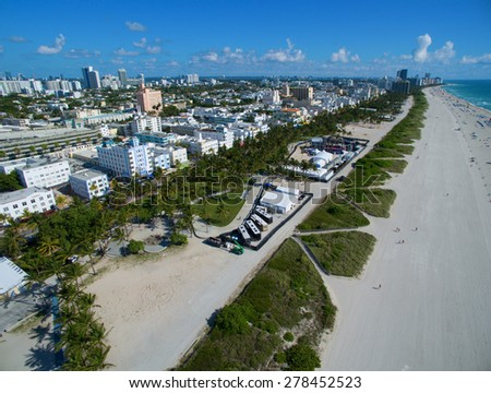 Aerial Miami Beach sands in the summer. Please visit my video gallery for great aerial videos of Miami Beach.  - stock photo