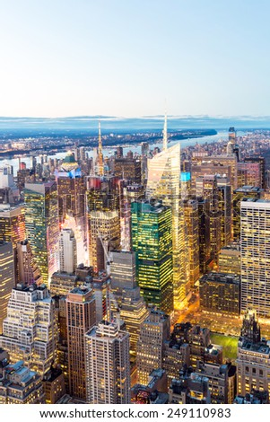 Aerial New York City skyline urban skyscrapers at dusk, USA. - stock photo
