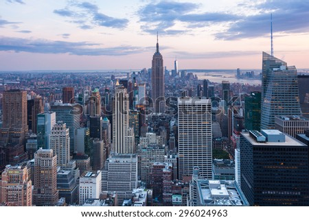 Aerial night view of Manhattan skyline - New York - USA - stock photo