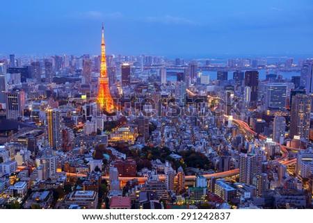 aerial night view of tokyo tower from Mori tower , roppongi hills , tokyo - stock photo