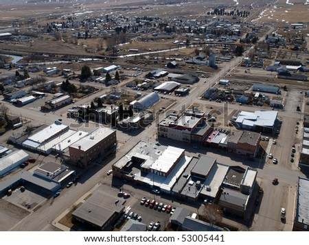 Aerial of a small farm town in the midwestern United States - stock photo