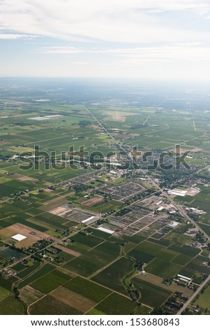 Aerial of agricultural and rural town Virgil Ontario. - stock photo