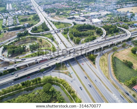 Aerial of Freeway  - stock photo