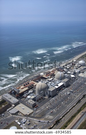 Aerial of nuclear power plant on California coast, USA. - stock photo