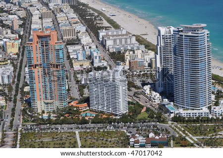 Aerial of South Pointe looking north - stock photo