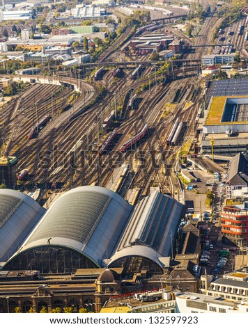aerial of the Hauptbahnhof in afternoon - stock photo